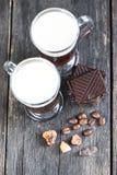 Overhead view on irish coffee with dark chocolate Stock Photo