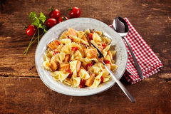 Overhead view of italy pasta with salmon Stock Images