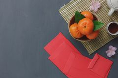 Overhead view of items for Chinese & Lunar Happy New Year concept background. Stock Photo
