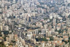 Overhead view of the Jounieh Beirut Highway in Lebanon. Overhead view of the Jounieh Beirut Highway winding through the buildings in Lebanon royalty free stock image