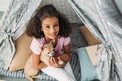 Overhead view of little smiling african american kid with chihuahua dog in teepee. At home royalty free stock photo