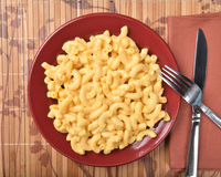 Overhead view of macaroni and cheese Royalty Free Stock Photography