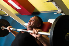 Overhead View of Man Weight Lifting Stock Images