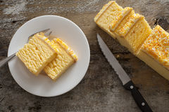 Overhead view of mouth watering yellow cake Stock Image