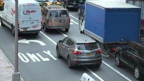 Overhead view of NYC traffic stock video footage