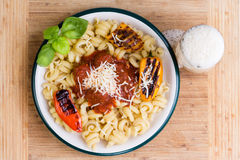 Overhead View Of A Plate Of Savory Trottole Pasta Royalty Free Stock Photos