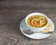 Overhead View Of Homemade Chicken Noodle Soup With Spoon And Who Royalty Free Stock Photography