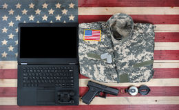 Free Overhead View Of USA Military Equipment And Laptop Computer On R Stock Photos - 94622643