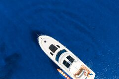 Free Overhead View Of Yacht In Mediterranean Sea Stock Photo - 187905170