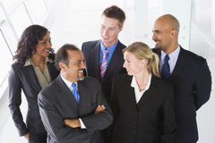 Overhead view of office staff. Chatting Royalty Free Stock Image