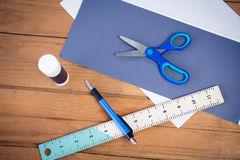 Overhead view of office supply Royalty Free Stock Photography