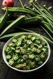 Overhead view Okra stir fry- Asian cuisine stock photos