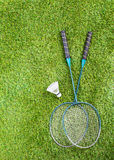 Badminton equipment on a lawn Royalty Free Stock Image