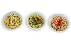 Overhead view of pastas served in containers Royalty Free Stock Photography