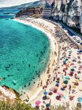 Overhead view of people at the beach, holiday concept in Tropea.  Stock Image