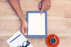 Overhead view of person holding on digital tablet Royalty Free Stock Photos