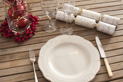 Overhead view of place setting with classic plate Royalty Free Stock Photography