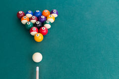 Overhead view of pool billards snooker balls on green table. Ready to break Royalty Free Stock Photography