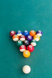 Overhead view of pool billards snooker balls on green table. Ready to break Stock Photos