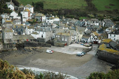 Overhead view of Port Isaac. Port Isaac from up high in moody weather Royalty Free Stock Images