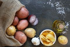 Overhead view of potatoes with crisps Royalty Free Stock Photos