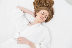 Overhead view of a pretty blond sleeping in bed Royalty Free Stock Images