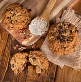 Overhead View of Raisin Pecan Oatmeal Cookies Stock Photography