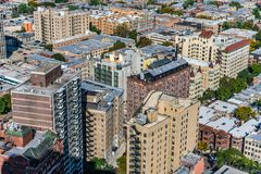 Overhead View of Residential Buildings between Lincoln Park and Lake View Chicago stock image