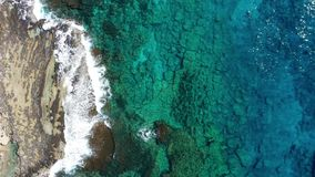 Overhead view of rocky coastline.  stock footage