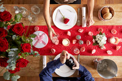 Overhead View Of Romantic Couple At Valentines Day Meal Stock Photography
