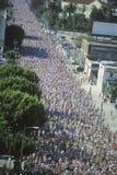 Overhead view of runners in Los Angeles Marathon, Los Angeles, CA Stock Image