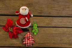 Overhead view of Santa claus with Christmas tree Stock Photo
