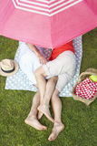 Overhead View Of Senior Couple Enjoying Picnic Together Royalty Free Stock Image