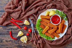 Crumbed fish sticks on a plate royalty free stock photography