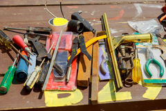 overhead view of set of old wood working tools, Tools on a wooden Royalty Free Stock Images