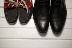Overhead view of shoes on floor Stock Photography