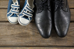 Overhead view of shoes pairs Stock Image