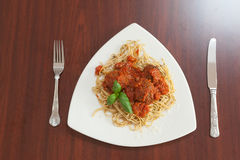 Overhead view of spaghetti and meatballs Stock Photography