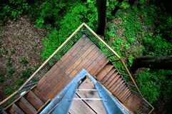 Overhead view of stairs on a rural building