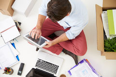 Overhead View Of Start Up Business Moving Into Office Royalty Free Stock Photo