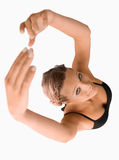 Overhead view of stretching woman Stock Photography