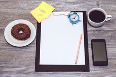 Overhead view of student`s, worker`s workplace. Office accessori royalty free stock images