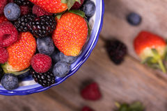 Overhead view of summer fruits in a bowl Royalty Free Stock Photography
