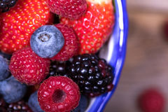 Overhead view of summer fruits in a bowl Stock Photo