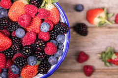 Overhead view of summer fruits in a bowl Stock Image