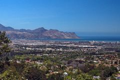 Overhead view of Strand, South Africa. Overhead view of Table Bay and the suburb of Strand, near Cape Town, South Africa, with mountains in the background royalty free stock photography