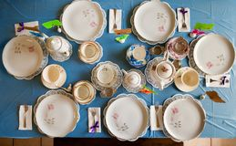 Overhead View of a Table Set for a Tea Party royalty free stock image