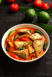 Overhead view-Tasty fish curry royalty free stock photo