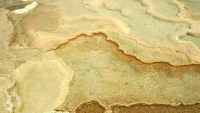 Overhead view of terraces at mammoth hot springs, yellowstone