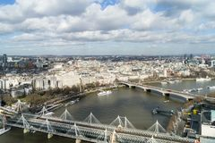 Overhead view of Thames river and bridges, London. Overhead view of London skyline showing the Thames river and the Golden Jubilee and Waterloo bridges. Taken in Stock Photo